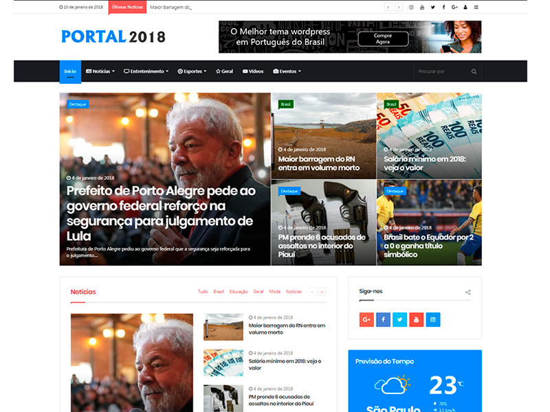 Tema Portal De Noticias 2018 WordPress Responsivo Pt-br - KOALA KING